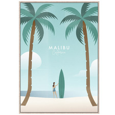 Surfs Up Malibu Framed Canvas Wall Art