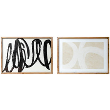 2 Piece Abstract In Contrast Framed Print Wall Art Set