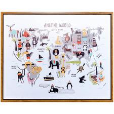 Animalia World Map Framed Canvas Wall Art