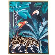Flocked Cheetah Rainforest Jungle Framed Canvas Wall Art