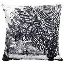 White Tropical Plains Cotton & Jute Cushion