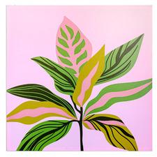 Pink Leaf Plant Canvas Wall Art