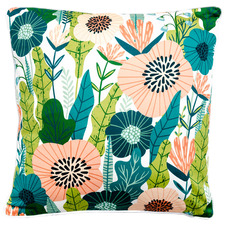 White Cottage Garden Cotton Cushion