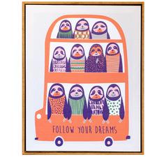 Artist Lab Sloths On A Bus Framed Canvas Wall Art