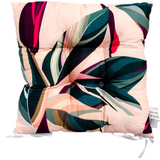 Fuchsia & Green Leaves I Outdoor Chair Pad
