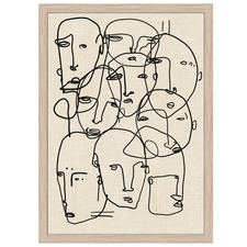 Embroidered Line Face Collage II Framed Canvas Wall Art