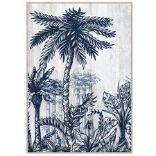 Blue Palm Plantation Framed Canvas Wall Art