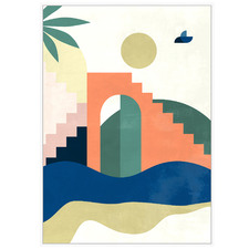 Summer Building Collage Framed Canvas Wall Art