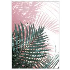 Pink Summer Palm Fan Framed Canvas Wall Art