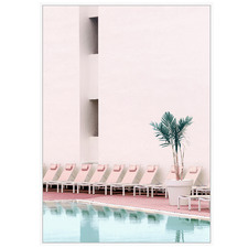 Pink Poolside Framed Canvas Wall Art