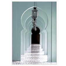 Teal Archways to Morocco Framed Canvas Wall Art