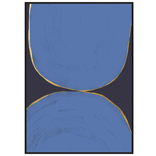 Blues & Gold Organic Abstract Framed Canvas Wall Art