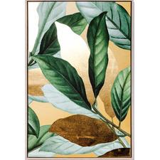 Green & Gold Leafy Framed Canvas Wall Art