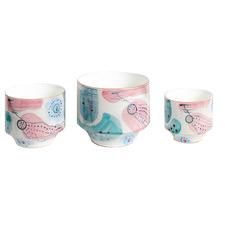 3 Piece Periwinkle Ceramic Planter Set