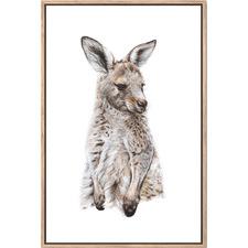 Artist Lab Eastern Grey Kangaroo Joey Framed Canvas Wall Art