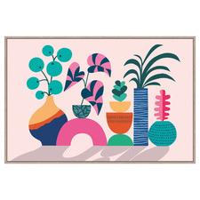 Geometric Plants Framed Canvas Wall Art