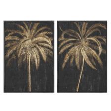 Golden Palm Framed Printed Wall Art Diptych