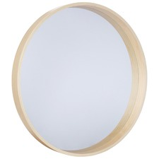 Round Light Wood Mirror