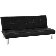 Black Chelsea Faux Leather 3 Seater Sofa Bed