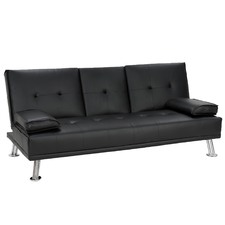 Black Rochester Faux Leather Sofa Bed