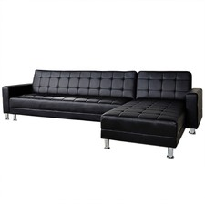 Faux Leather Corner Sofa Bed