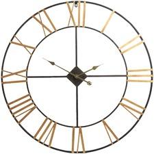 Brushed Gold & Black Classic Wall Clock 90 cm