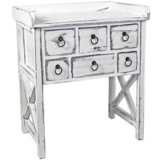 Lorette French Cross Hatch Table with Drawers