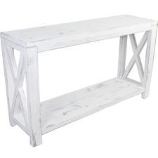 Lorette Farmhouse Cross Hatch Console Table