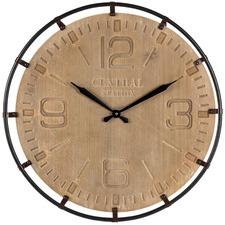 65cm Carved Central Station Metal Framed Clock