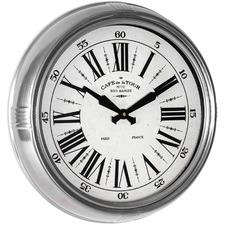 47cm Silver Framed Cafe De La Tour Wall Clock