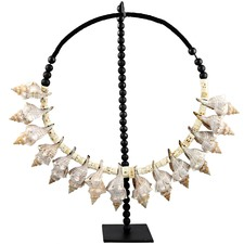 Round Shell Beaded Necklace on Stand