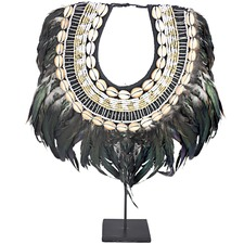 Black Feather Shell & Bead Necklace on Stand