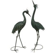 Hunter Green Metal Garden Crane Ornaments