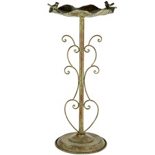 Green & Rust Lily Pad Bird Bath on Ornate Stand
