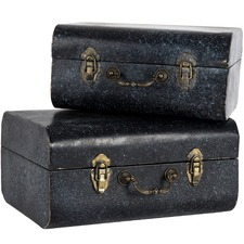2 Piece Black Vintage Nesting Case Set (Set of 2)