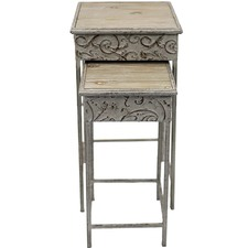 2 Piece Square Nesting Baroque Side Table Set (Set of 2)