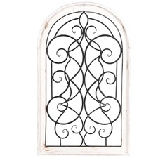 Whitewash French Arch Wall Decor with Metal Fleur (Set of 2)