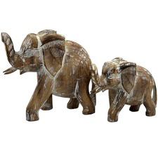 2 Piece Natural Elephant Decor Set