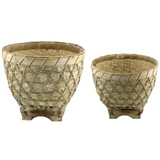 2 Piece Nested Bamboo Planter Set