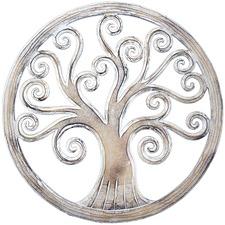 Whitewash Round Tree Of Life Wall Hanging
