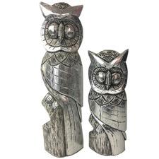2 Piece Hand Carved Owl Decor Set