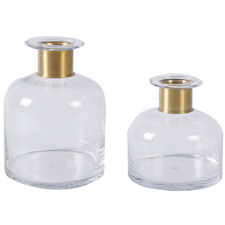 Clear Vase with Gold Foiled Neck (Set of 2)