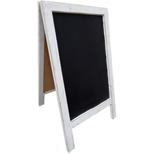 Distressed White Framed Blackboard with Stand (Set of 2)