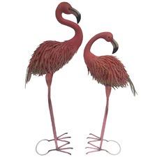 2 Piece Metal Flamingo Set