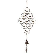 Rust Birds with Bell Iron Hanging Ornament