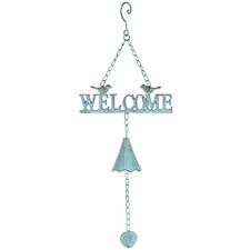 Antique Blue Hanging Welcome Sign