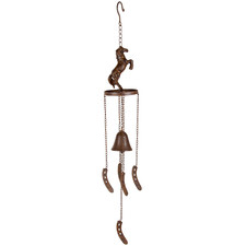 Rearing Horse & Bell Iron Hanging Ornament