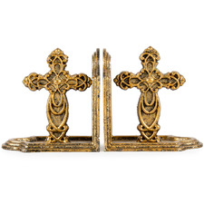 Antique Gold Iron Cross Bookends (Set of 2)