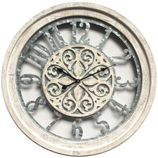 60cm White Wash Industrial Wall Clock
