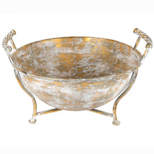 Gold Lustre Metal Footed Bowl with Handles
